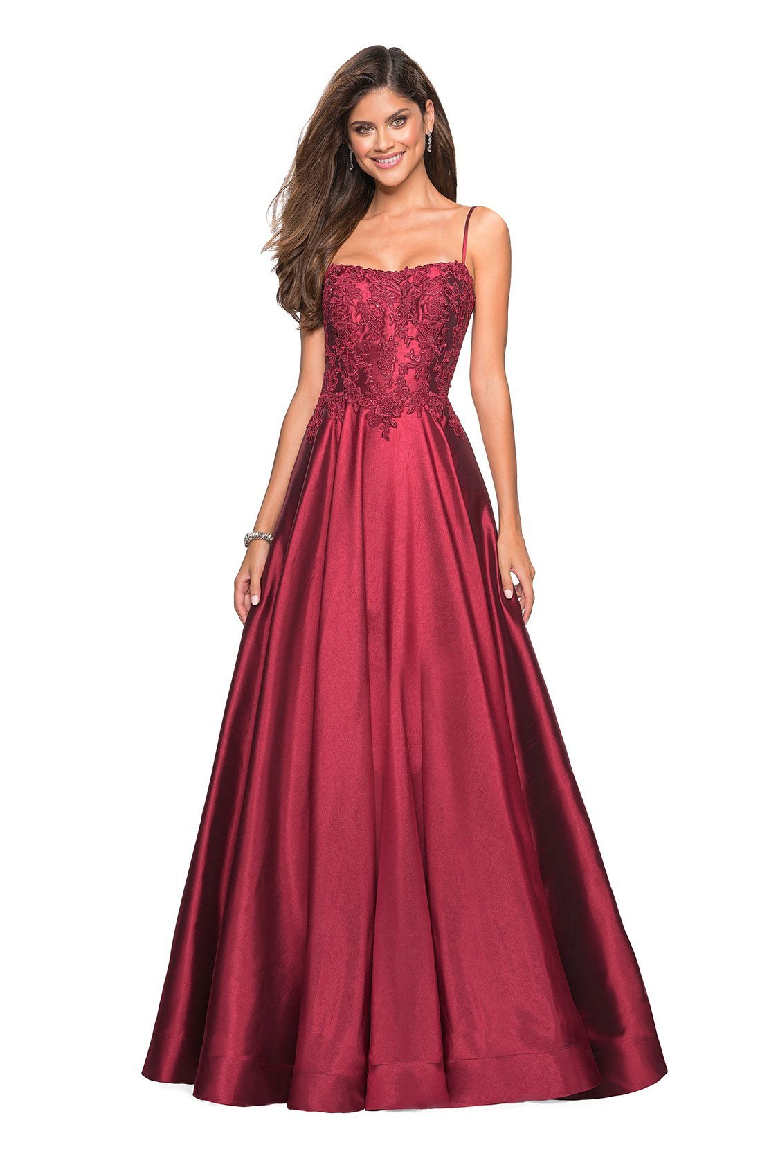 La Femme - Lace Applique Spaghetti Strap Mikado Gown 27222 In Red