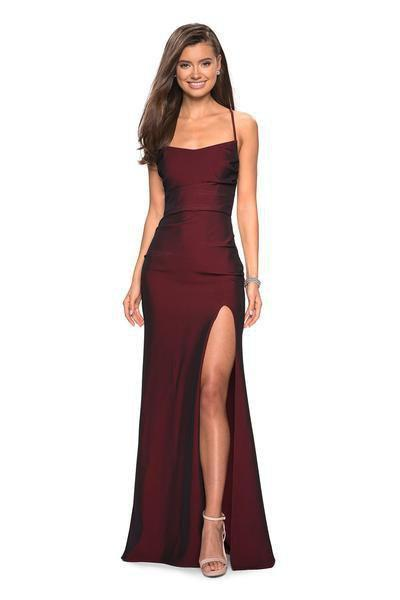 La Femme - 27660SC Jersey Sheath Dress with Slit