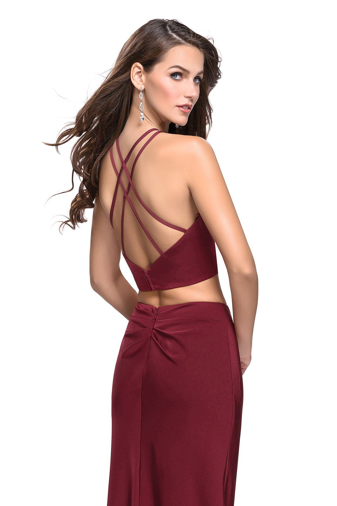 La Femme - Two Piece Deep V-neck Ruched Sheath Dress 25731 In Red