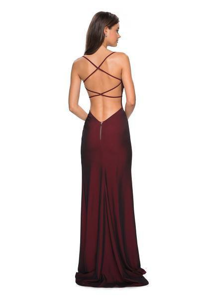 La Femme - 27660 Plunging Back Ruched High Slit Gown In Red