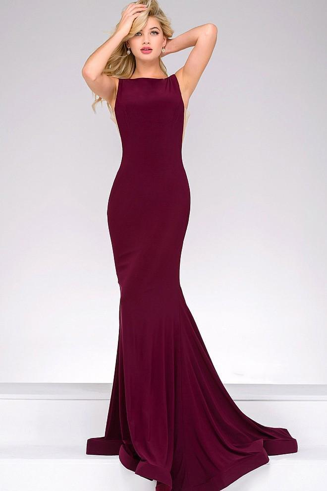 Jovani - Open Back Long Jersey Dress 47100 in Red
