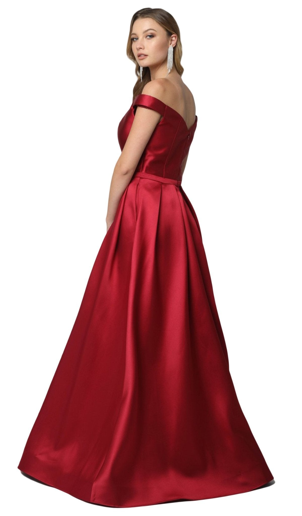 Nox Anabel - C007 Sleek Off Shoulder Mikado A-Line Gown In Red