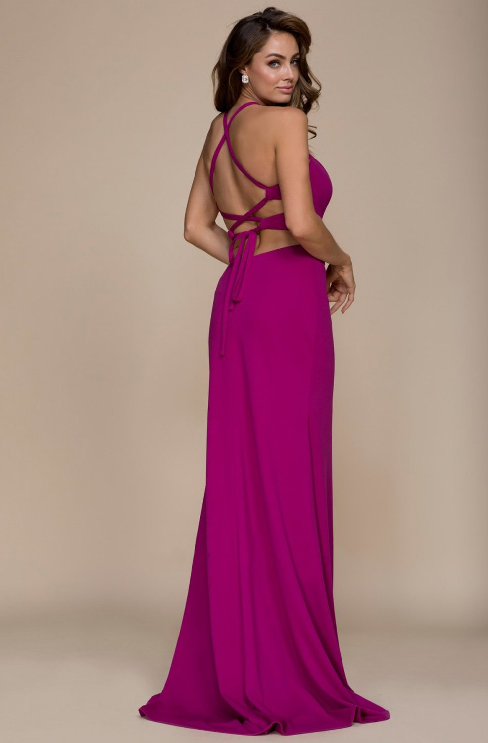 Nox Anabel - C026 Sexy Cutout Halter Neck Lace-up Back Sheath Gown In Pink