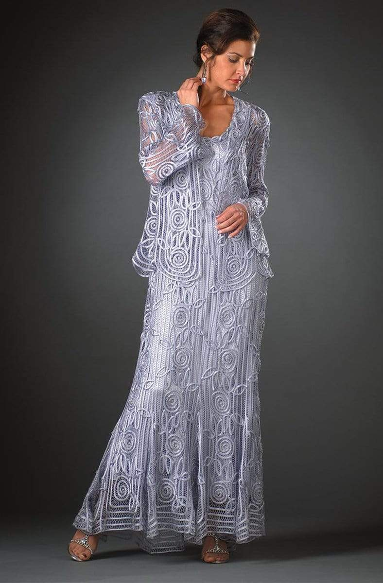 Soulmates - C1068 Beaded Silk Lace Collar Jacket with Godet Dress Set Mother of the Bride Dresses Ice / S