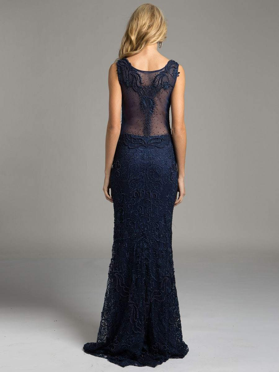 Lara Dresses - Sheer Bateau Illusion Sheath Evening Gown with Faux Pearls and Lace Appliques 33227 in Blue
