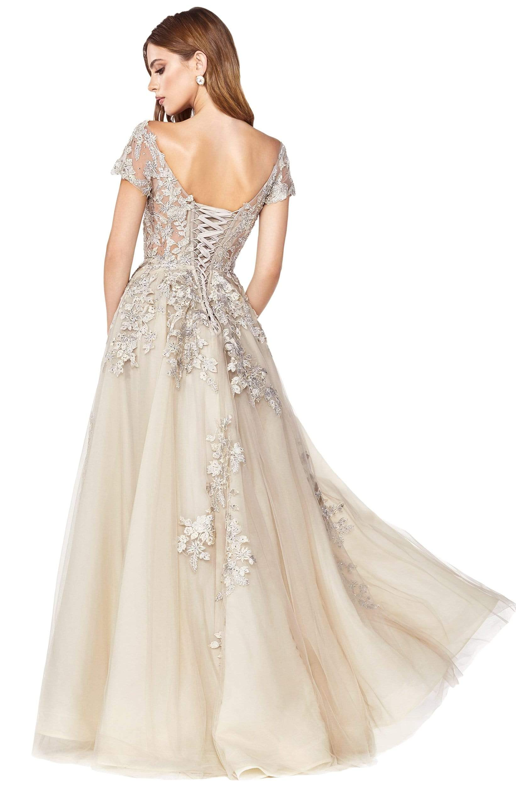 Cinderella Divine - C20 Jeweled Applique Illusion A-Line Gown In Neutral