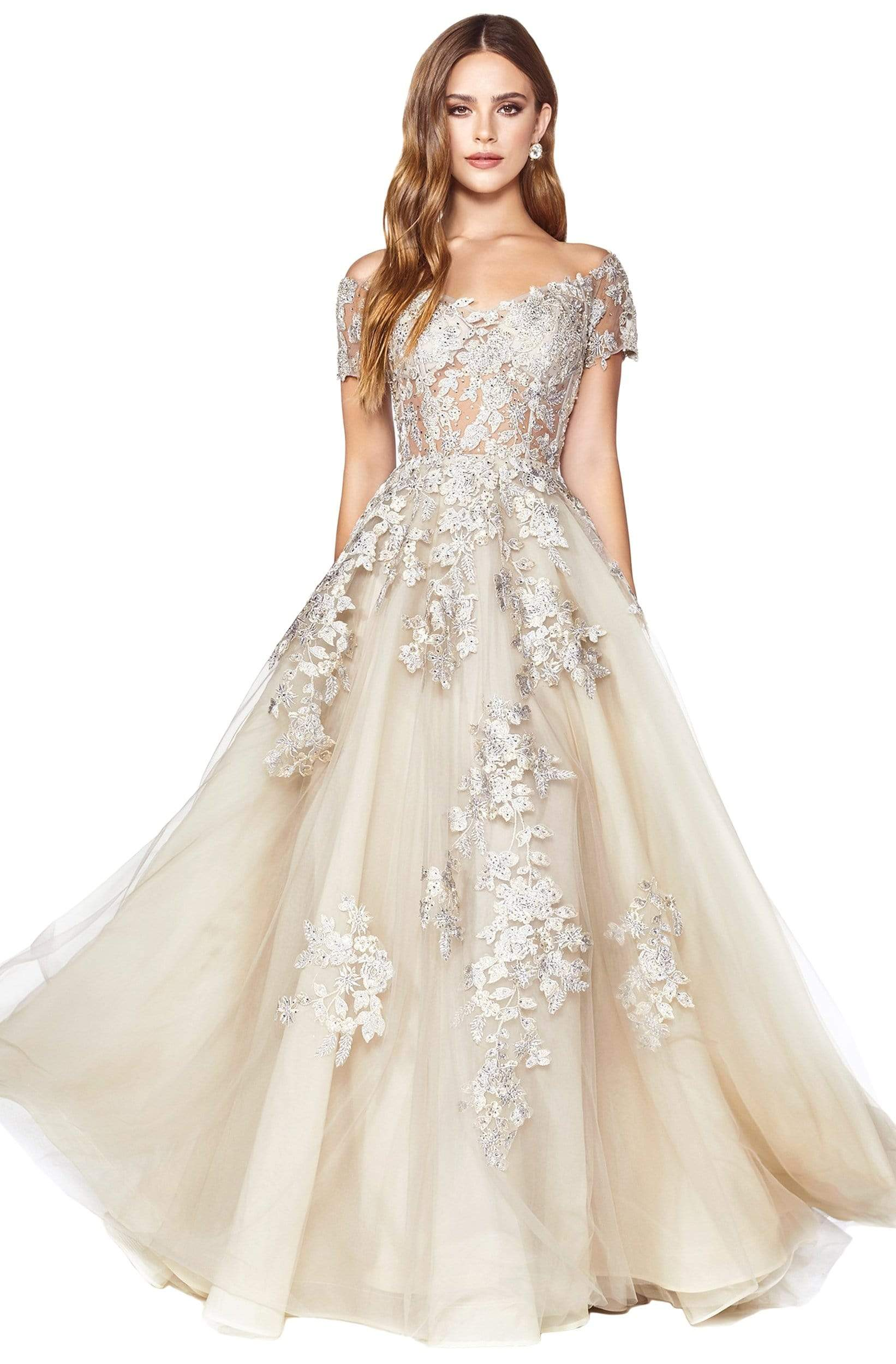 Cinderella Divine - C20 Jeweled Applique Illusion A-Line Gown Prom Dresses 2 / Champagne