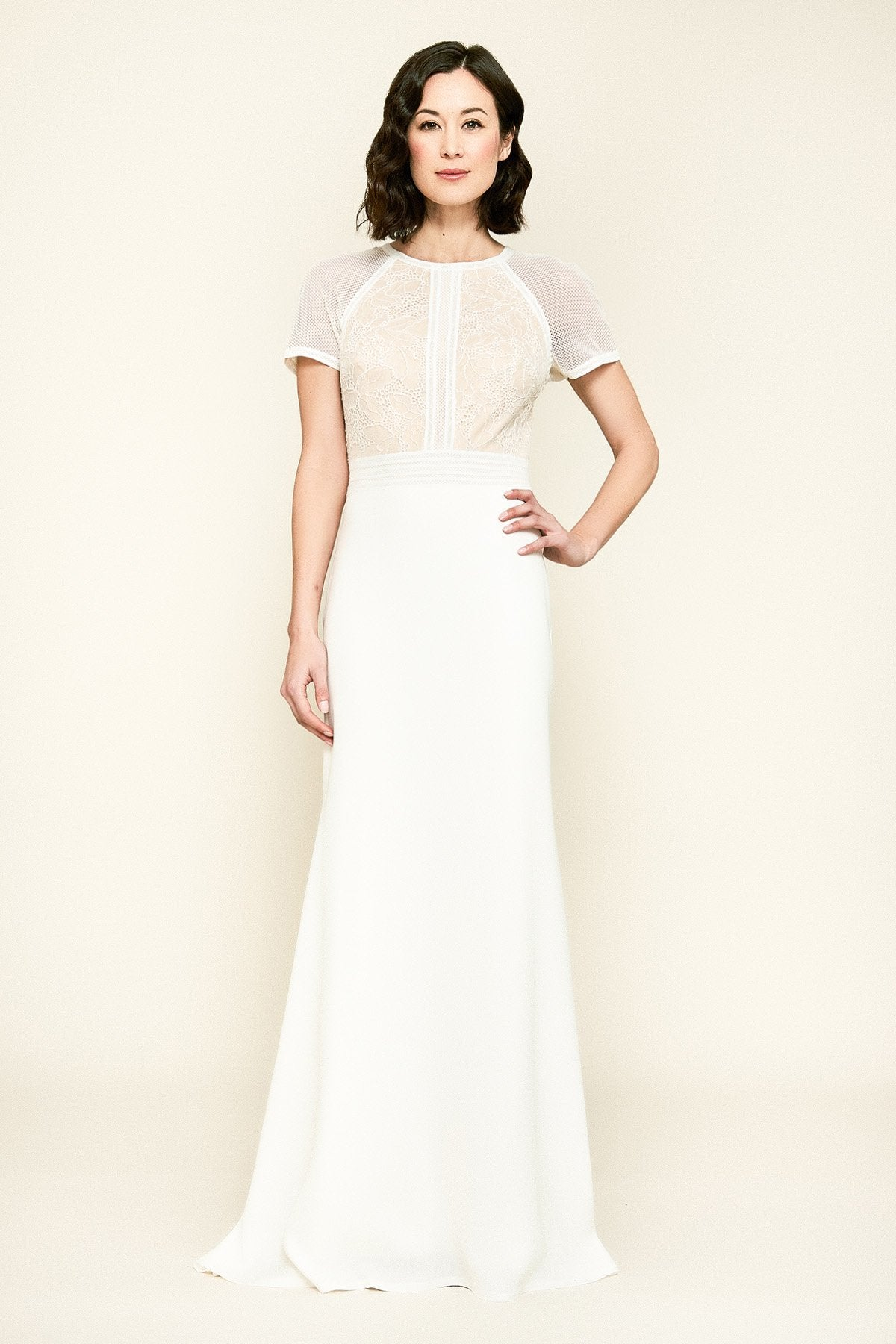Tadashi Shoji - Laced Jewel A-Line Evening Dress In White