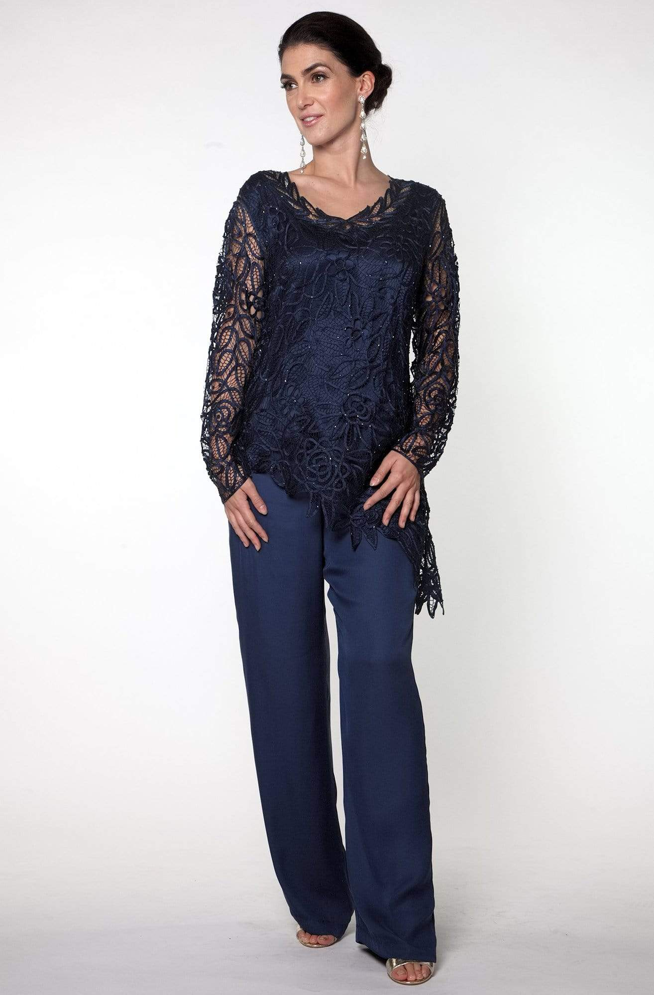 Soulmates - C805803 Asymmetrical Silk Lace Tunic Pants Set Mother of the Bride Dresses
