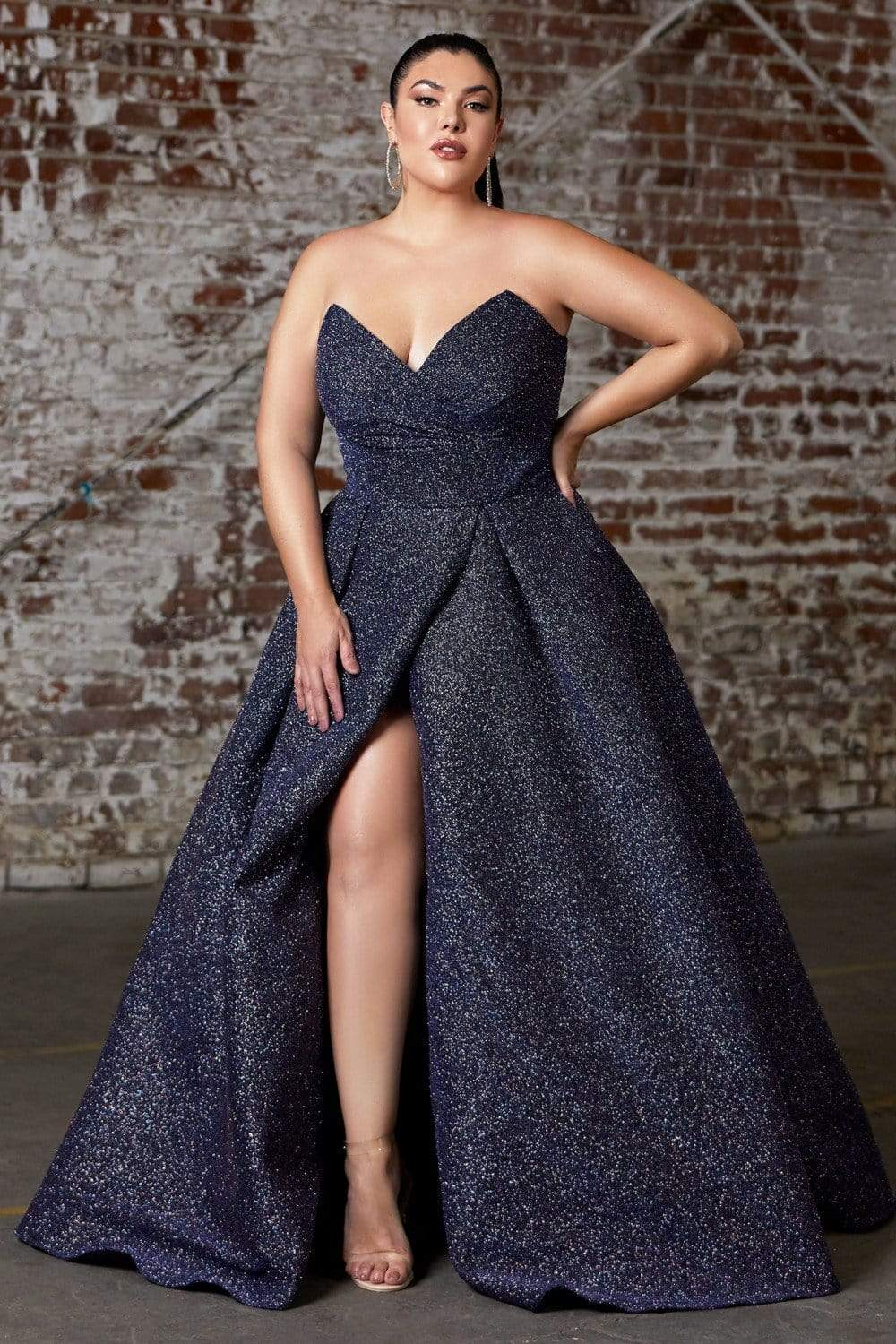 Cinderella Divine - CB045C Strapless Neck High Slit Glitter Ballgown Evening Dresses 16 / Midnight