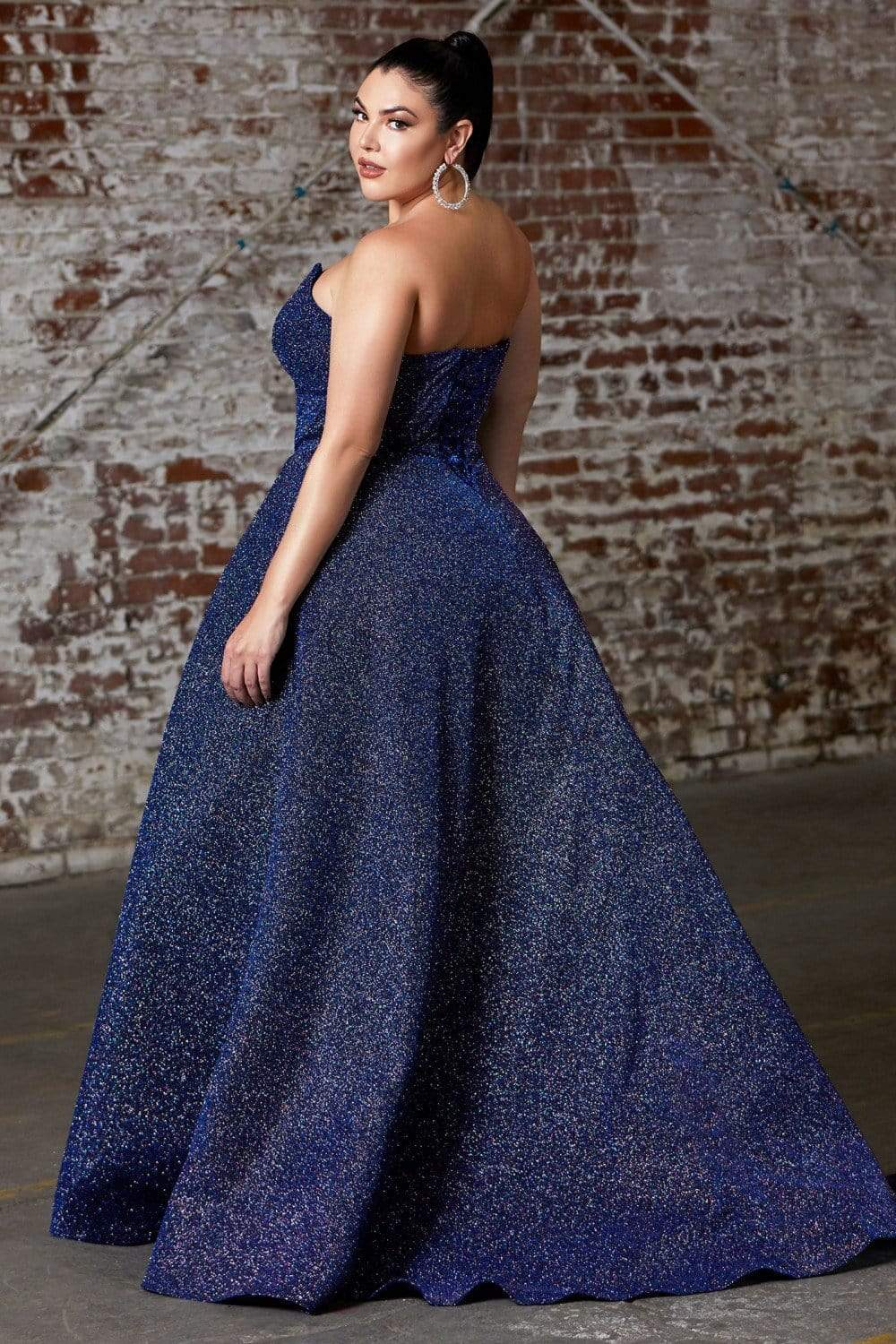 Cinderella Divine - CB045C Strapless Neck High Slit Glitter Ballgown Evening Dresses 16 / Royal