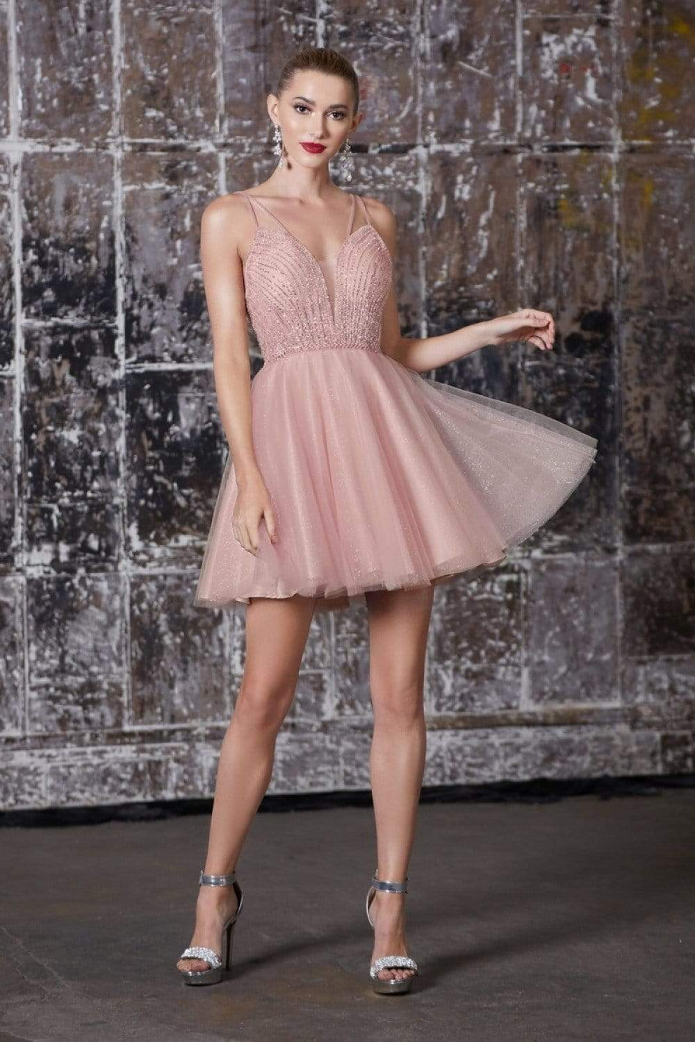 Cinderella Divine - CD0148 Beaded Embellished Fit and Flare Dress Party Dresses XXS / Blush