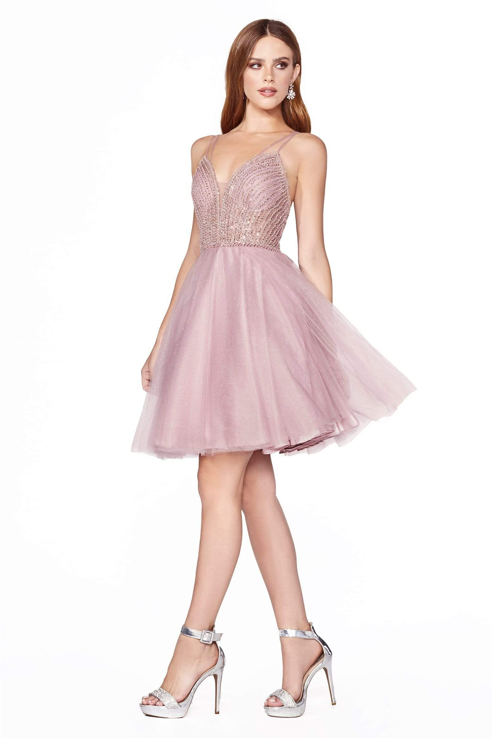 Cinderella Divine - CD0148 Beaded Embellished Fit and Flare Dress Party Dresses XXS / Mauve