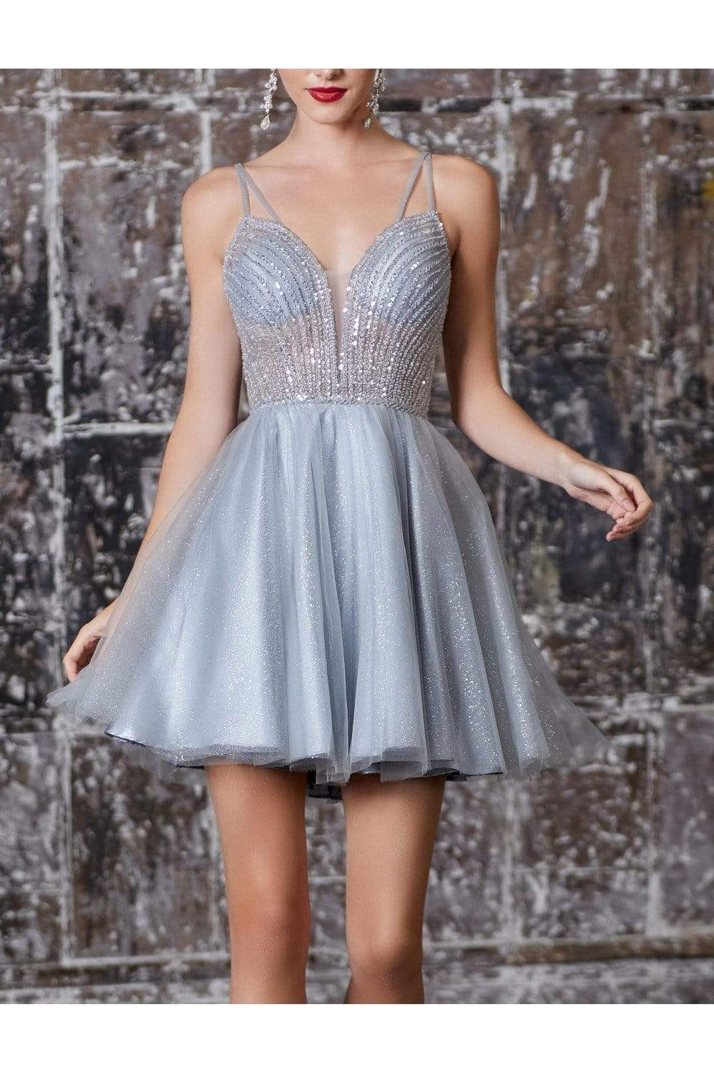 Cinderella Divine - CD0148 Beaded Embellished Fit and Flare Dress In Silver
