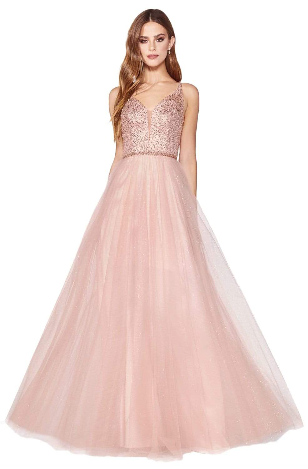 Cinderella Divine - CD0150 Beaded Sleeveless Glitter Tulle A-Line Dress Prom Dresses XXS / Blush
