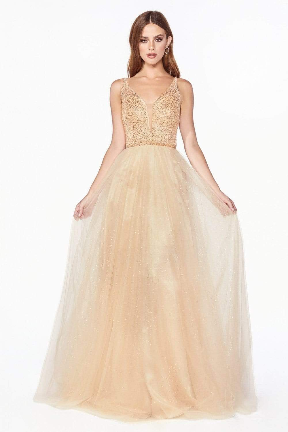 Cinderella Divine - CD0150 Beaded Sleeveless Glitter Tulle A-Line Dress Prom Dresses XXS / Champagne