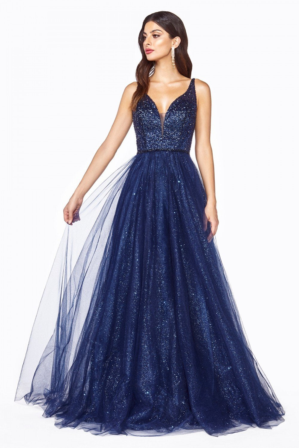 Cinderella Divine - CD0150 Sleeveless Embellished Top Glitter Tulle A-Line Dress In Blue