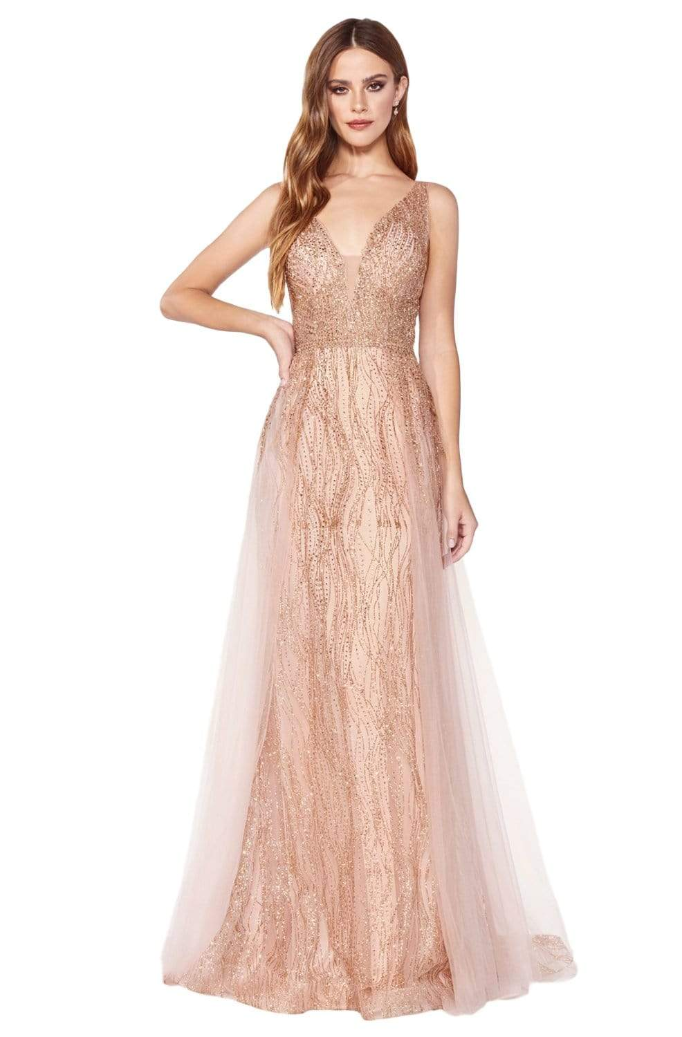 Cinderella Divine - CD0152 Deep V-neck Glitter Tulle A-line Dress In Pink