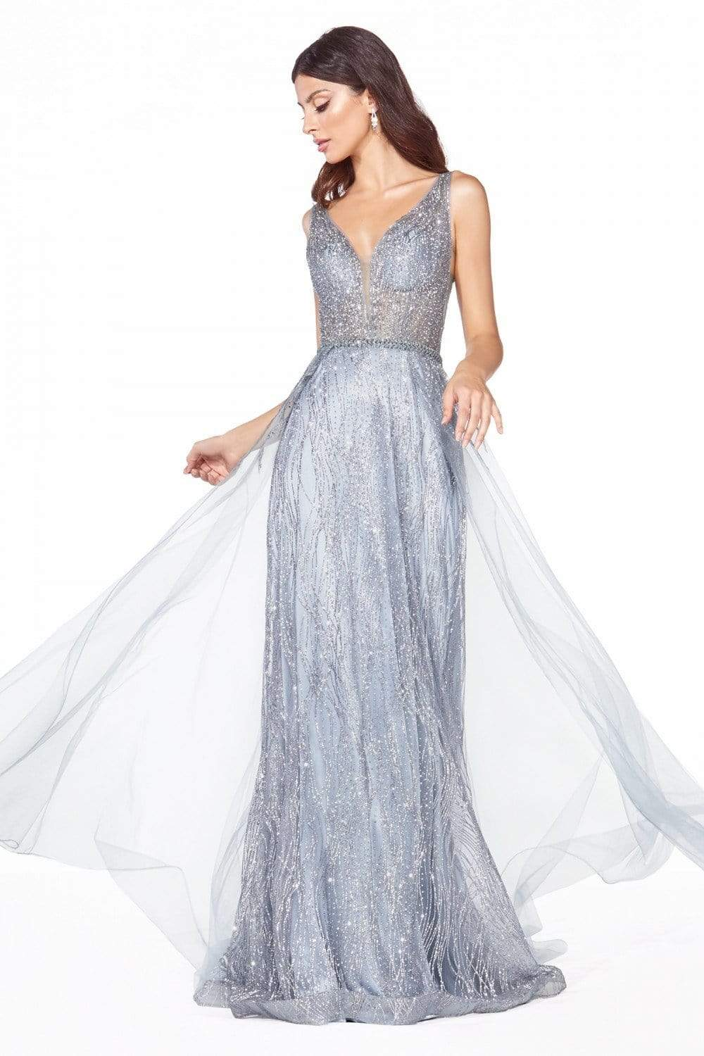 Cinderella Divine - CD0152 Deep V-neck Glitter Tulle A-line Dress Evening Dresses