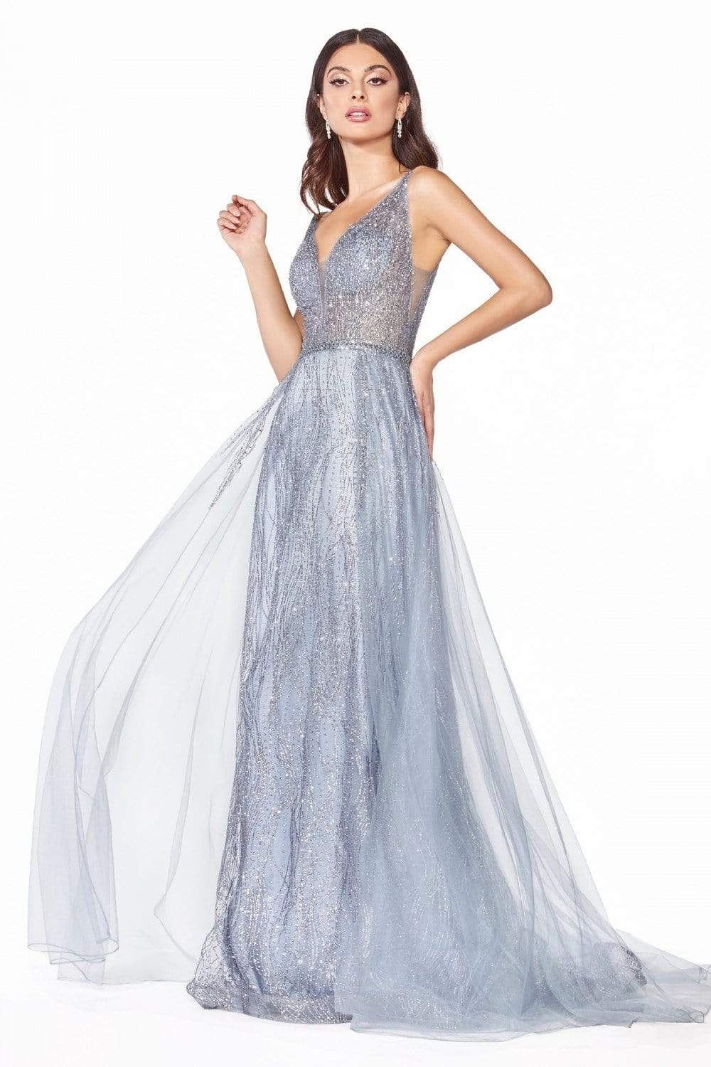 Cinderella Divine - CD0152 Deep V-neck Glitter Tulle A-line Dress Evening Dresses XXS / Smoky Blue