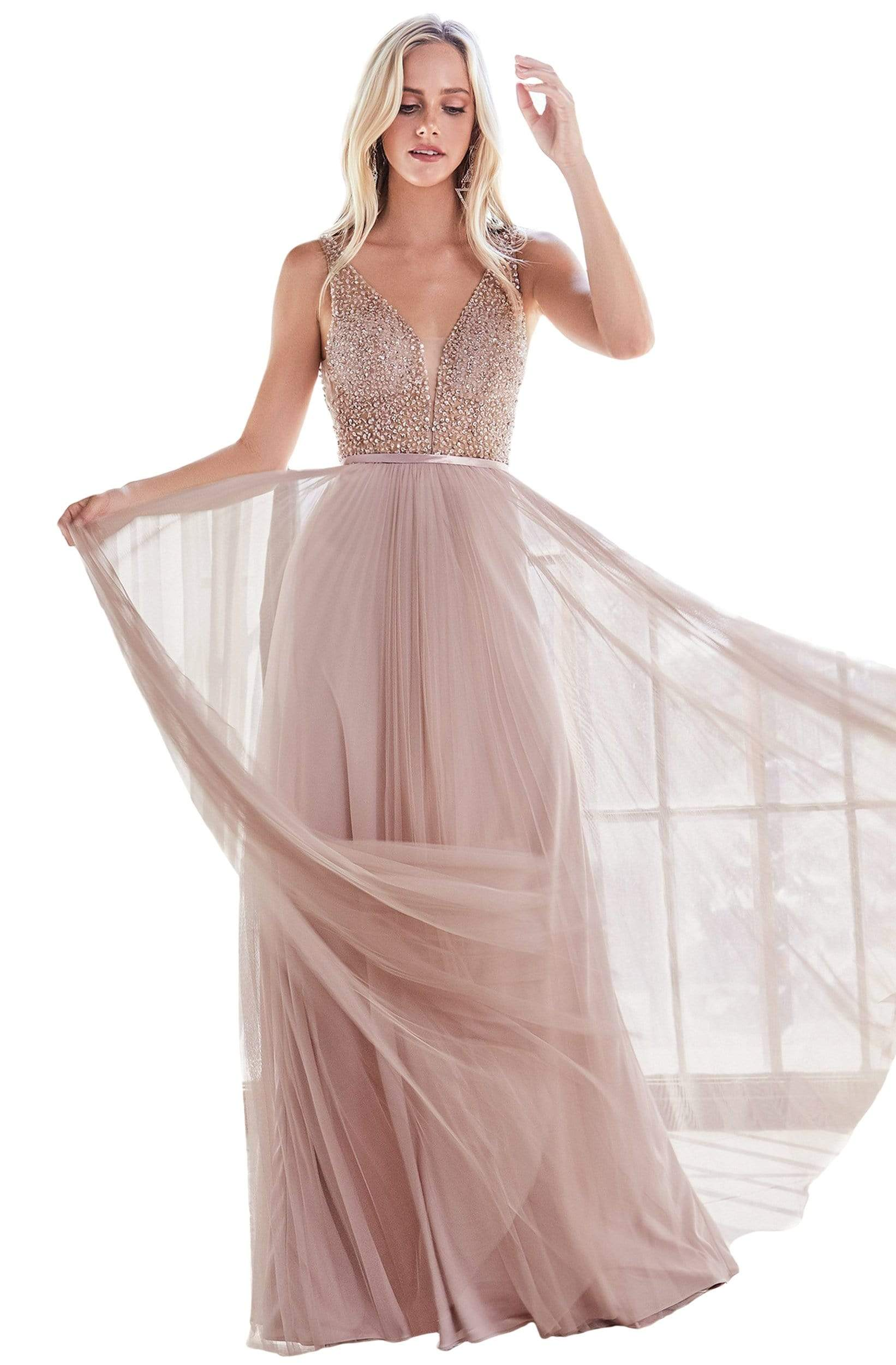 Cinderella Divine - CD192 Beaded Bodice Sheer Overlay A-line Gown In Pink and Neutral