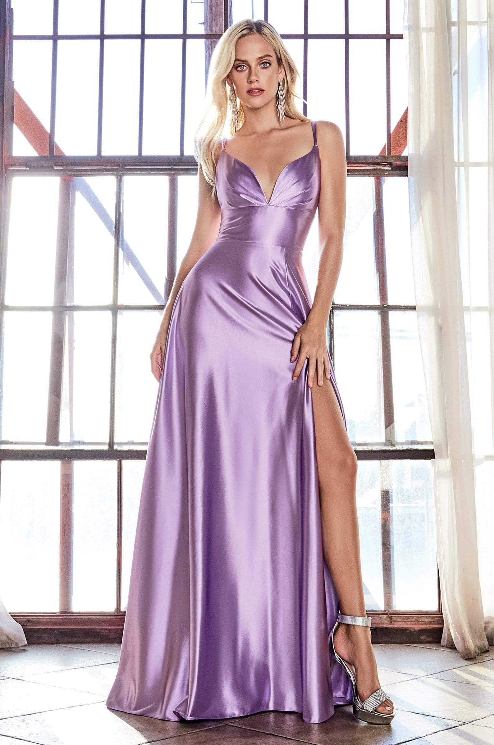Cinderella Divine - CD903 Deep V-neck Satin A-line Gown In Purple