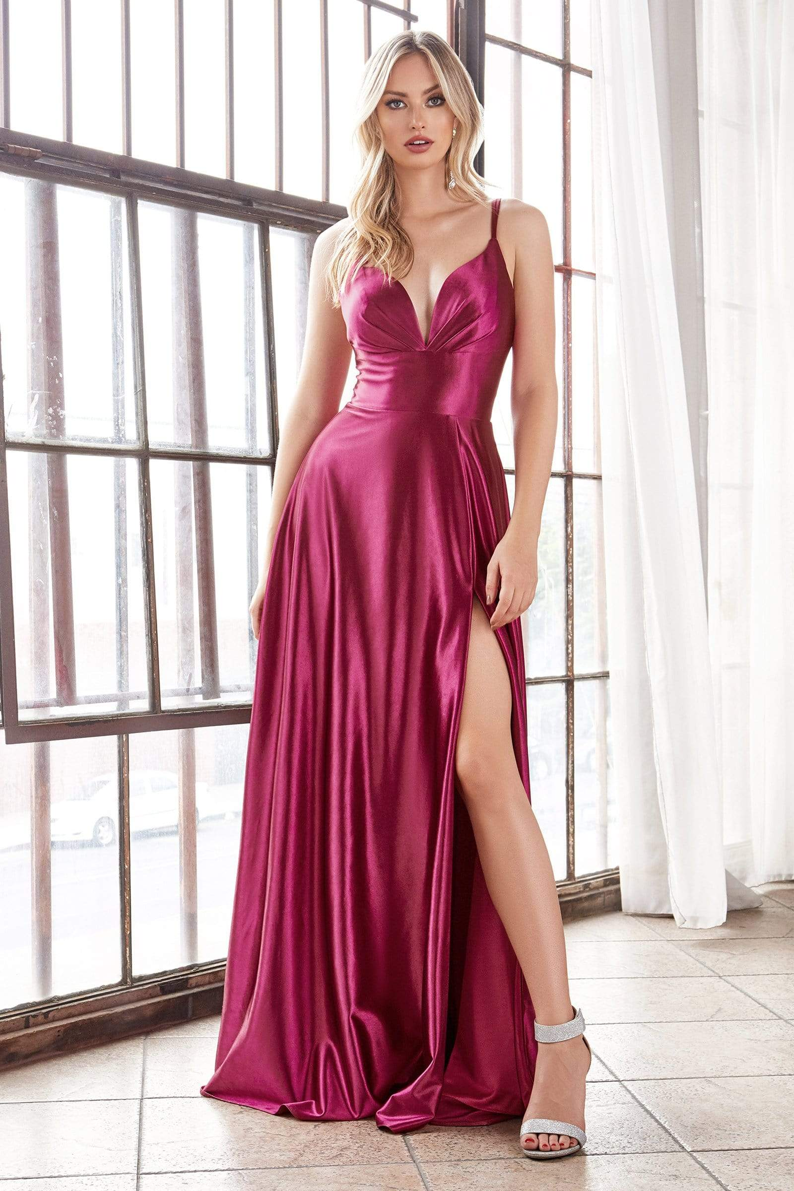 Cinderella Divine - CD903 Deep V-neck Satin A-line Gown In Red