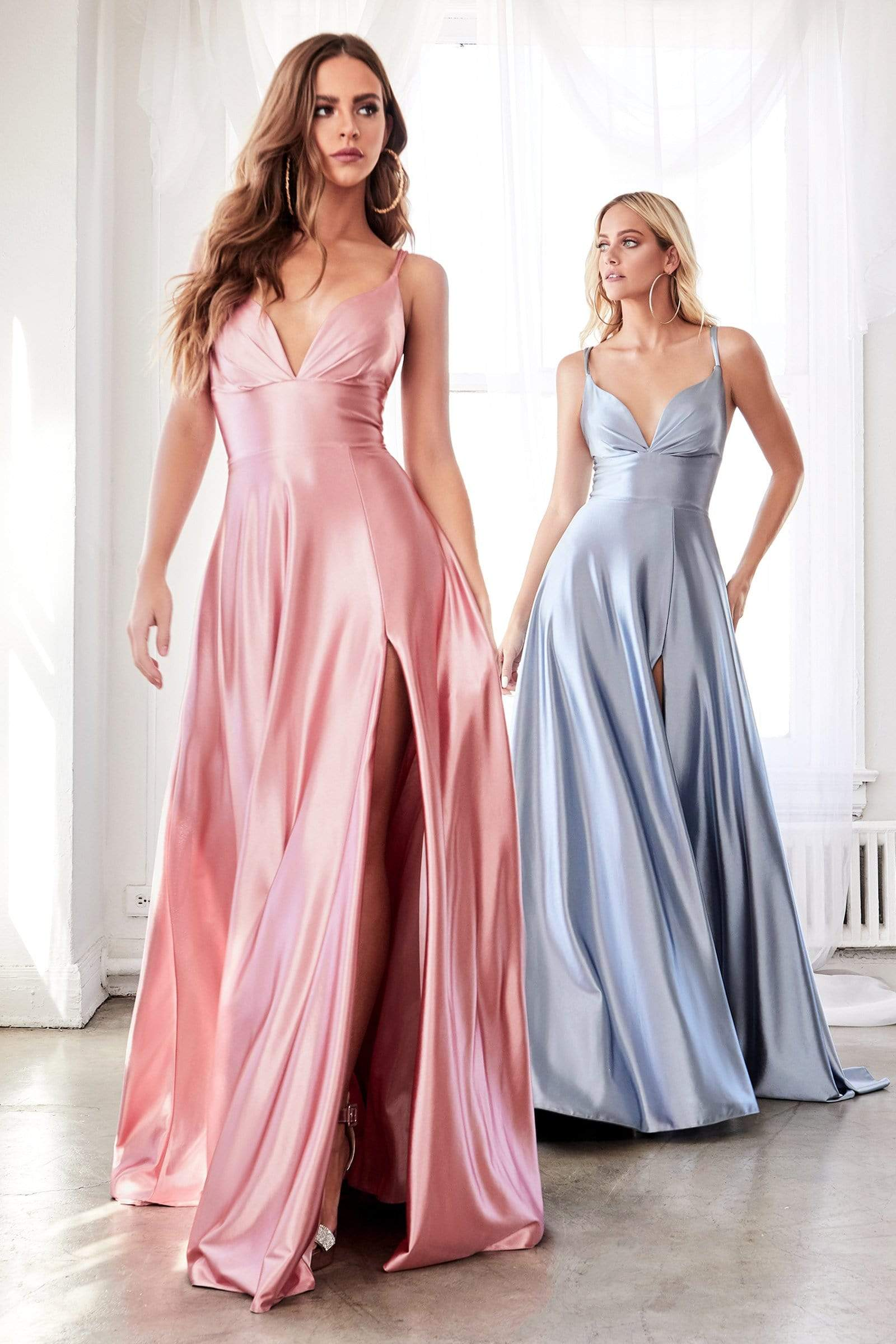 Cinderella Divine - CD903 Deep V-neck Satin A-line Gown Prom Dresses