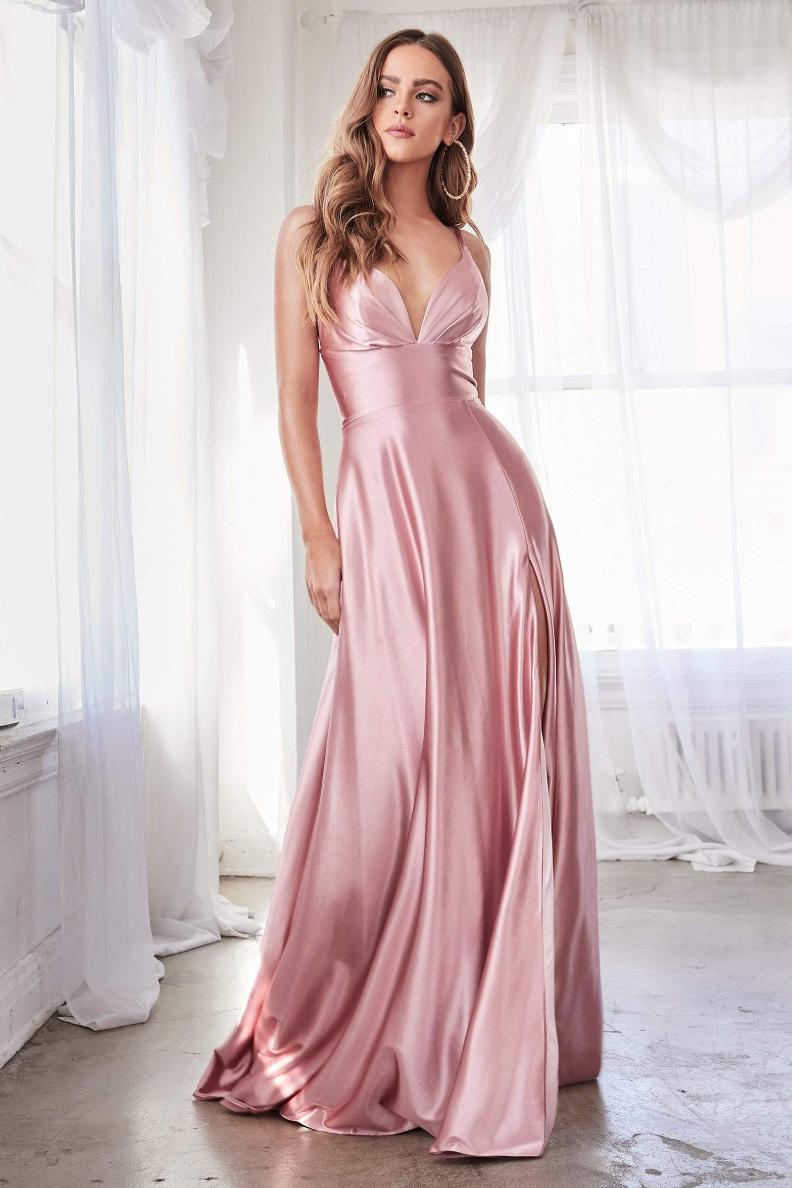 Cinderella Divine - CD903 Deep V-neck Satin A-line Gown Prom Dresses 2 / Rose