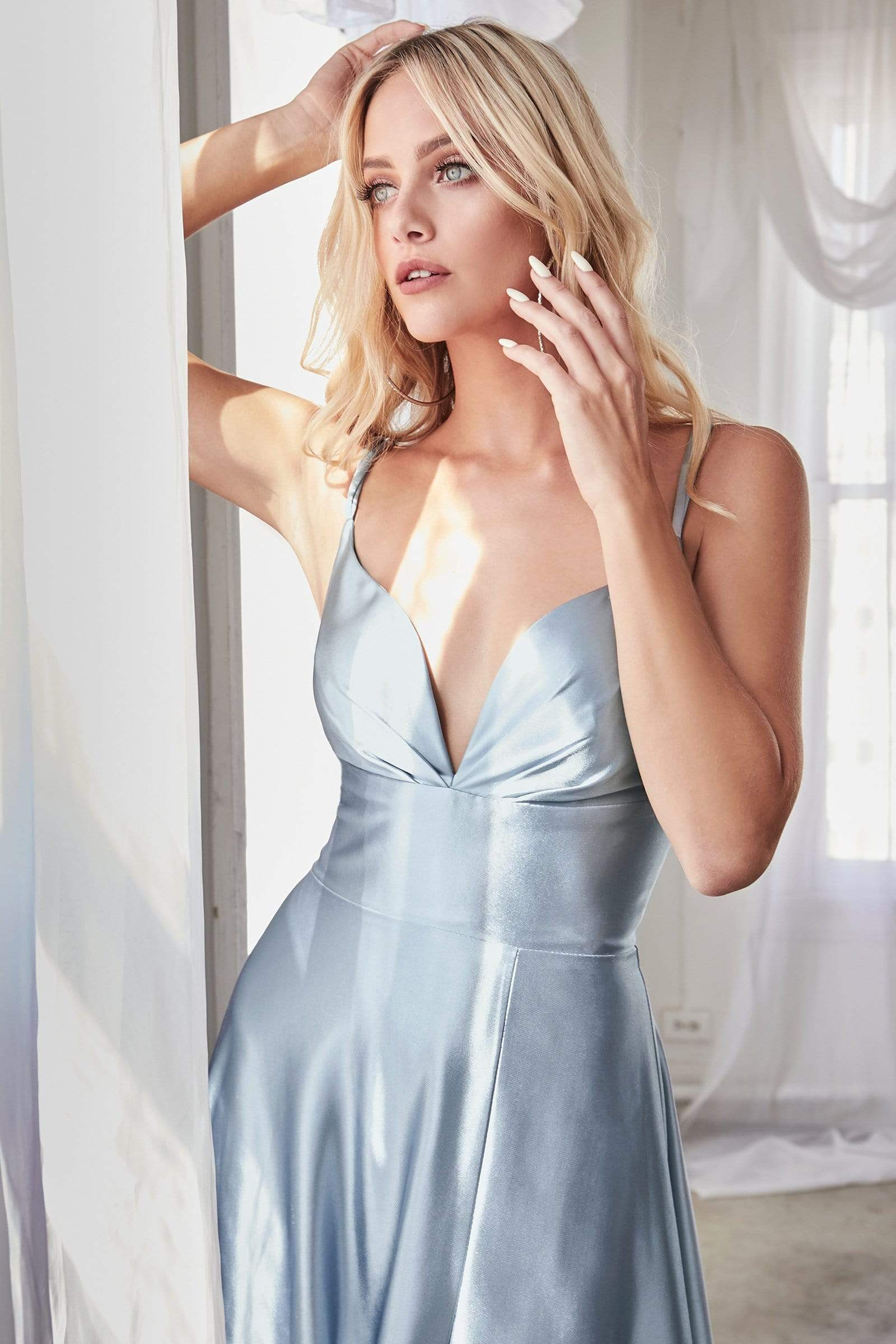 Cinderella Divine - CD903 Deep V-neck Satin A-line Gown In Blue