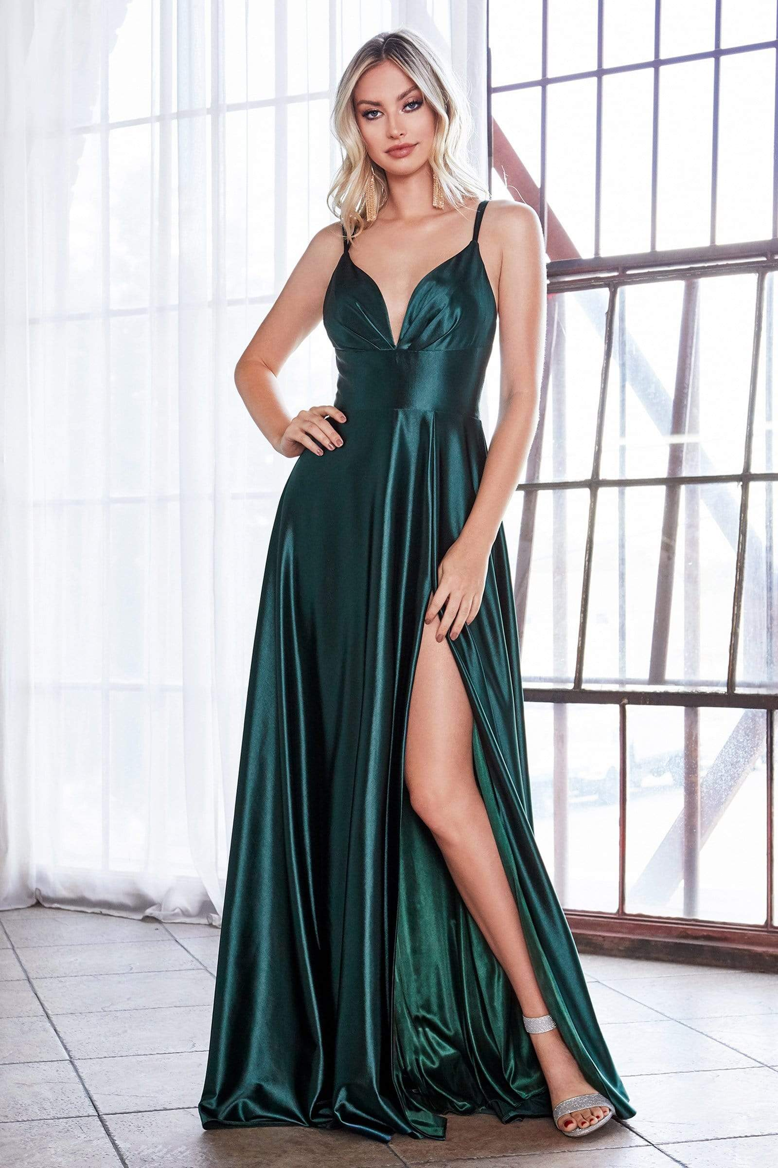 Cinderella Divine - CD903 Deep V-neck Satin A-line Gown Prom Dresses 2 / Deep Emerald