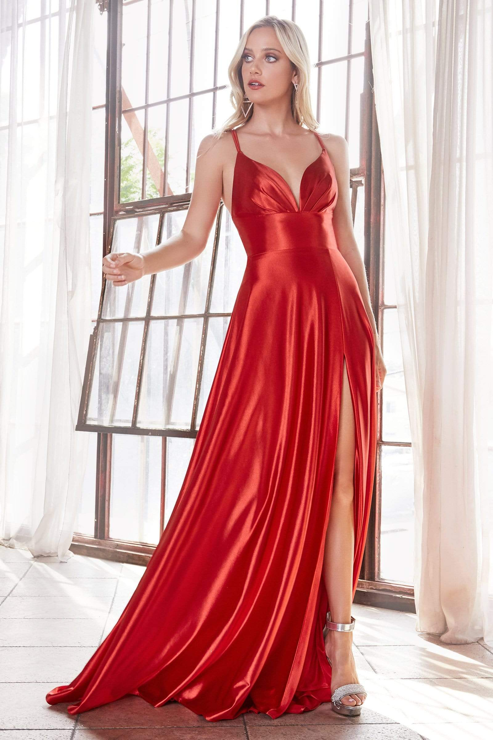 Cinderella Divine - CD903 Deep V-neck Satin A-line Gown Prom Dresses 2 / Red