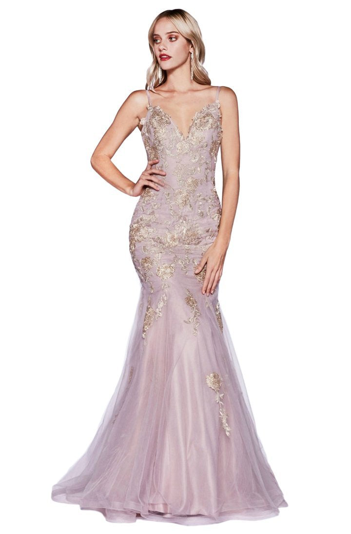 Cinderella Divine - Gold Lace Applique Fitted Mermaid Gown CDS321 In Pink