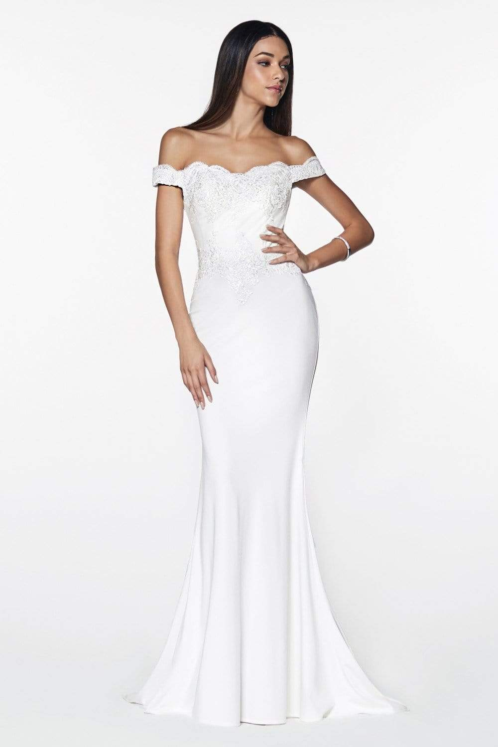 Cinderella Divine - CF158 Stretch Crepe Satin Off Shoulder Gown Special Occasion Dress XS / Off White