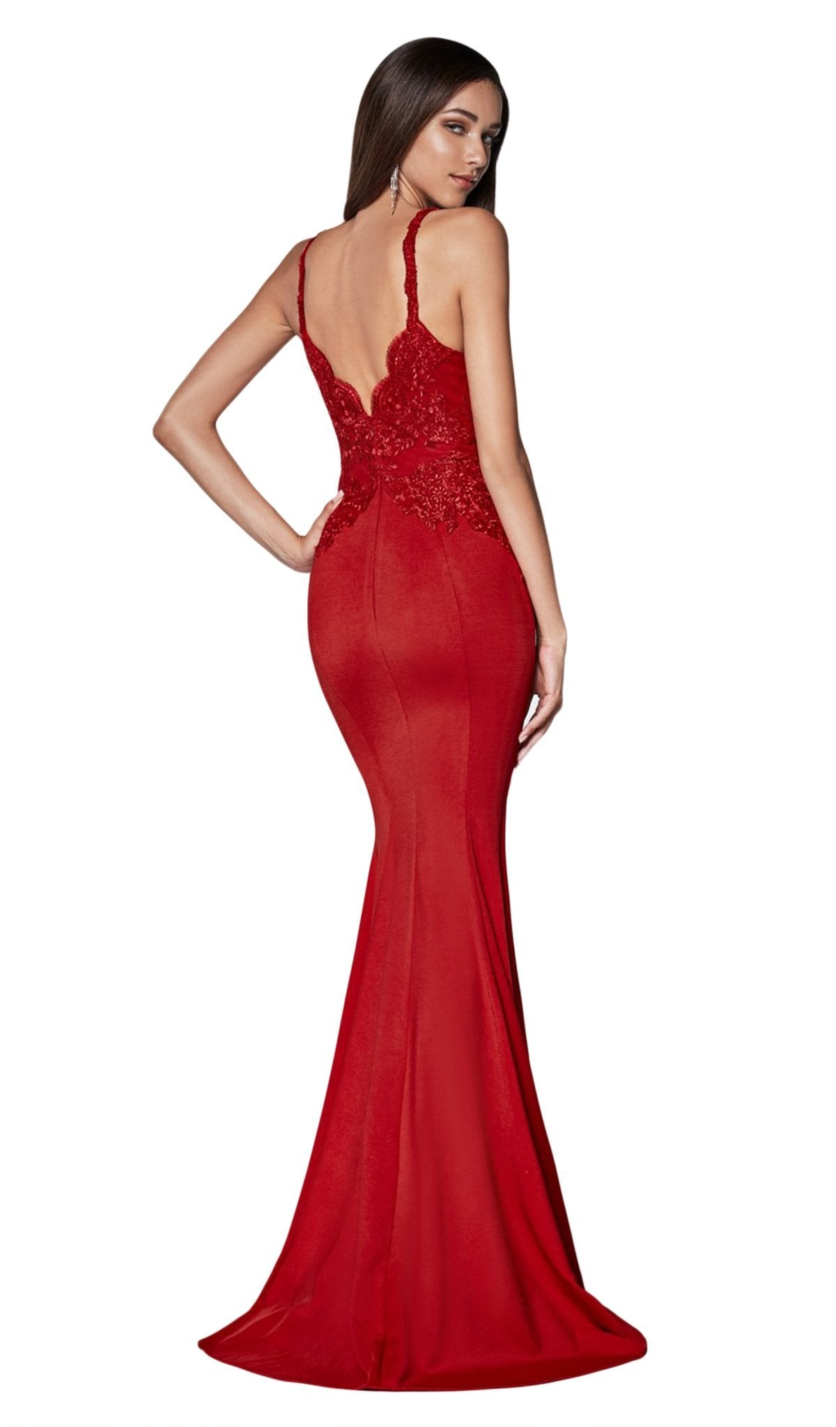 Cinderella Divine - CF319 Lace Scalloped Deep V-neck Trumpet Dress In Red