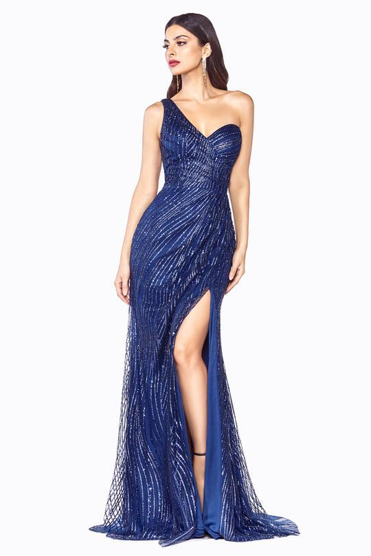 Cinderella Divine - One Shoulder Sweetheart Glitter Tulle Evening Dress CH201 In Blue