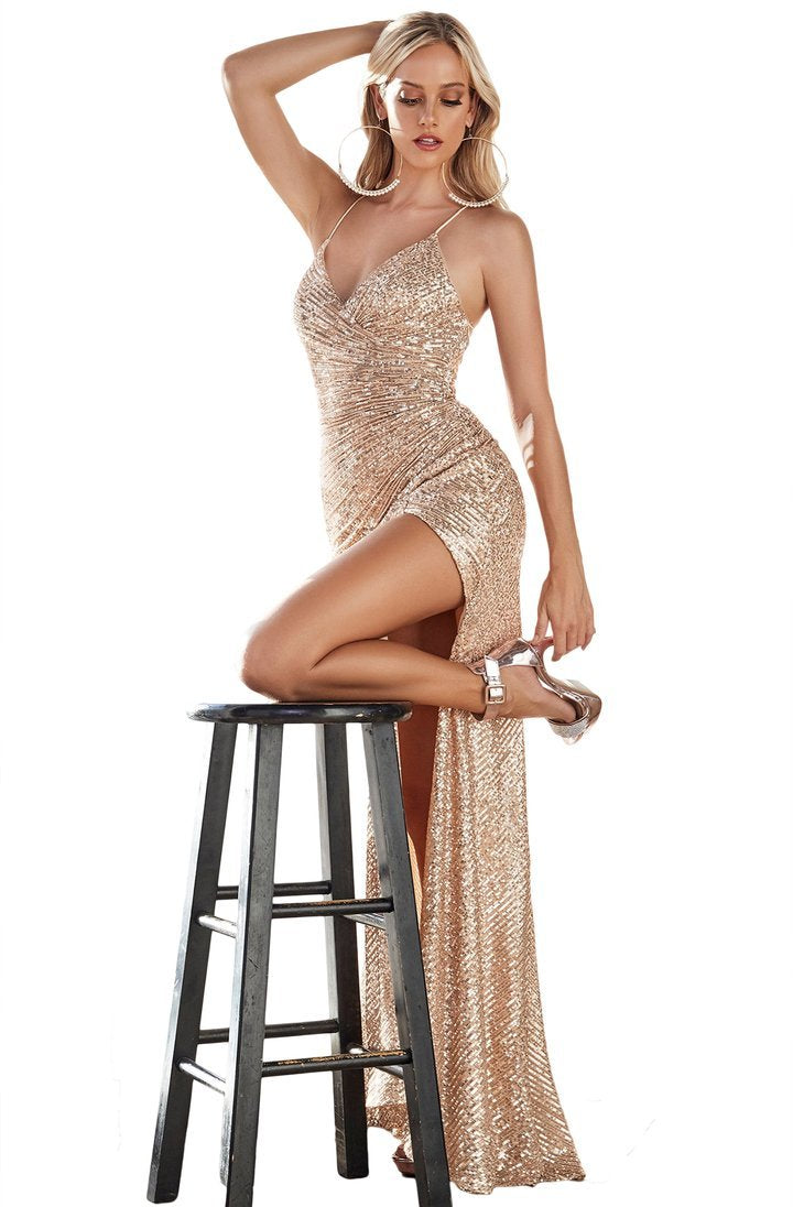 Cinderella Divine - Sequined Plunging V-neck Sheath Dress CH225 In Gold