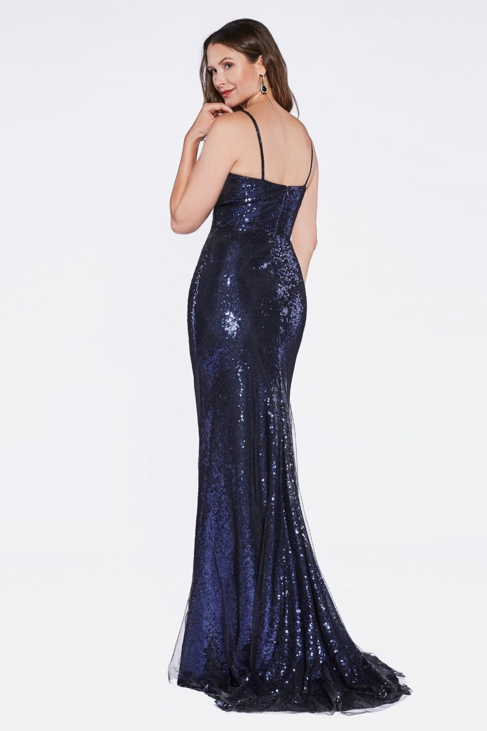 Cinderella Divine - CH570SC Allover Sequin Fitted Evening Gown