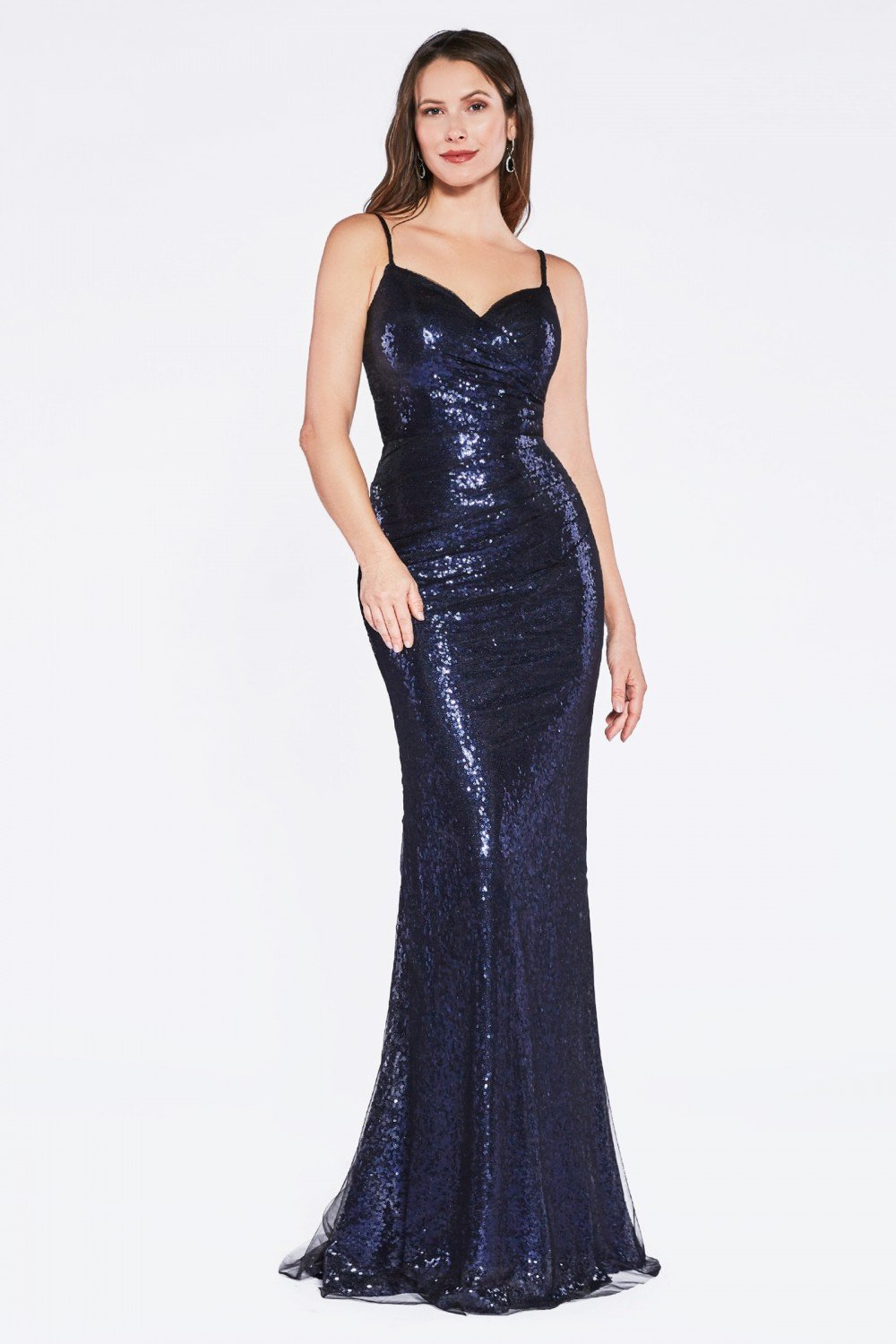 Cinderella Divine - CH570 Fitted Allover Sequin Evening Gown In Blue