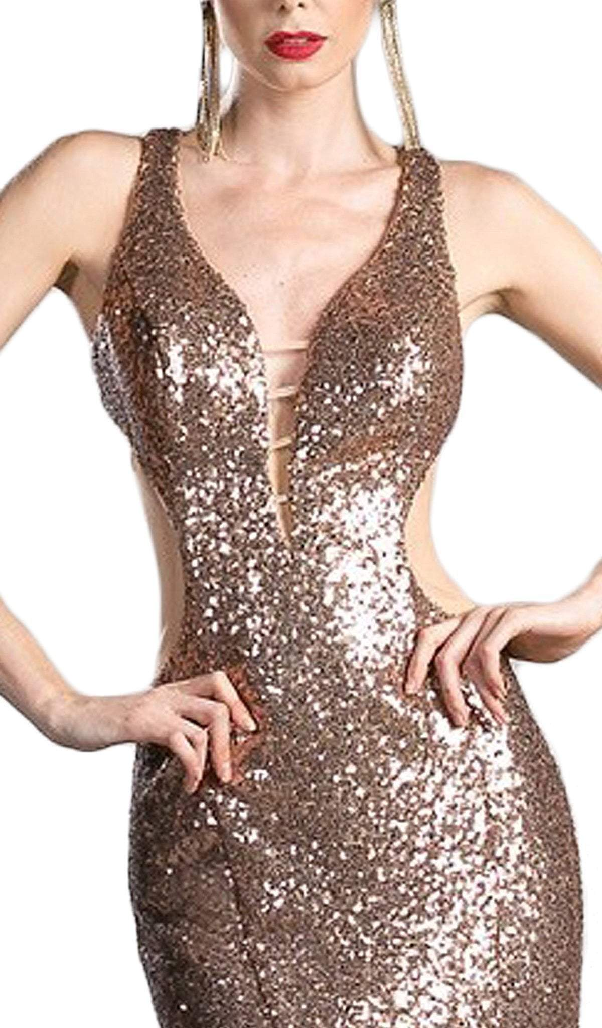 Cinderella Divine - Sequined Plunging Fitted Evening Gown