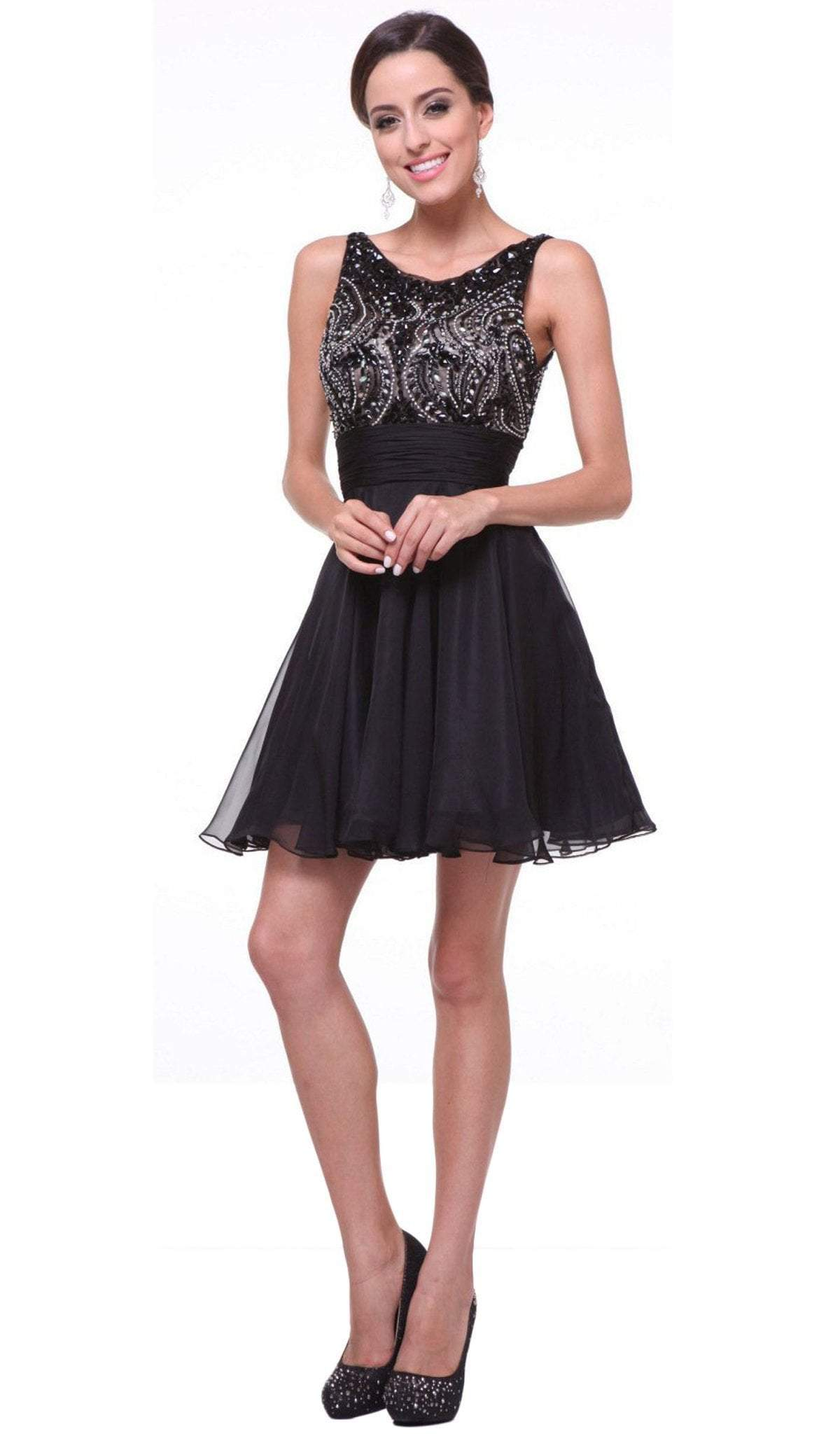 Cinderella Divine - Stone Embellished Bateau Neck Cocktail Dress in Black