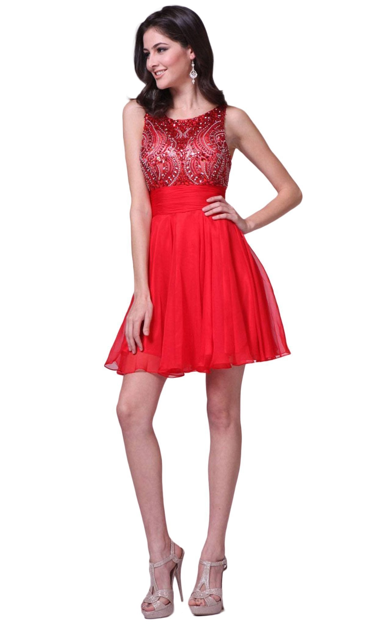 Cinderella Divine - Stone Embellished Bateau Neck Cocktail Dress in Red