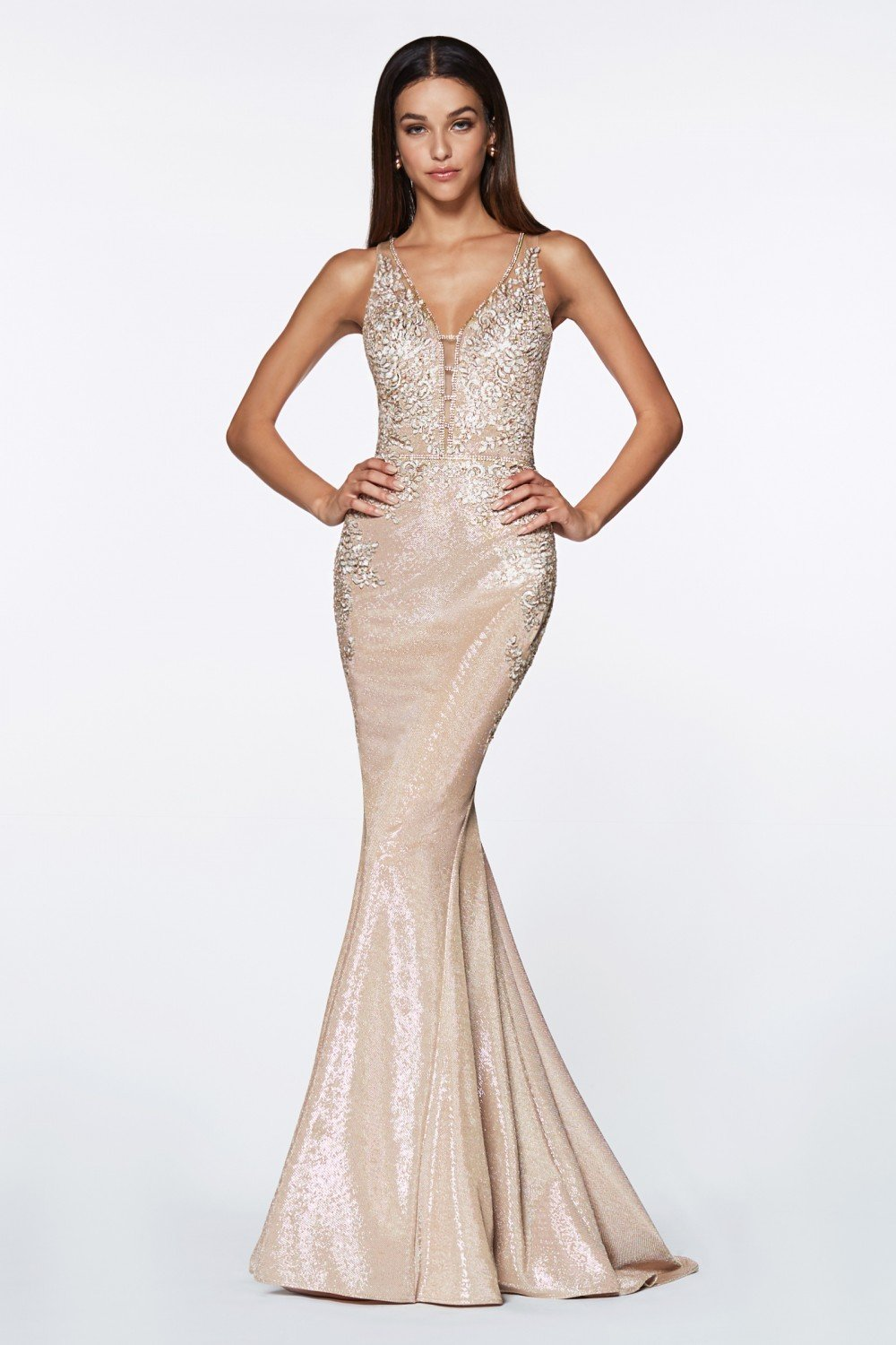 Cinderella Divine - CJ504 Floral Applique Deep V-Neck Mermaid Gown