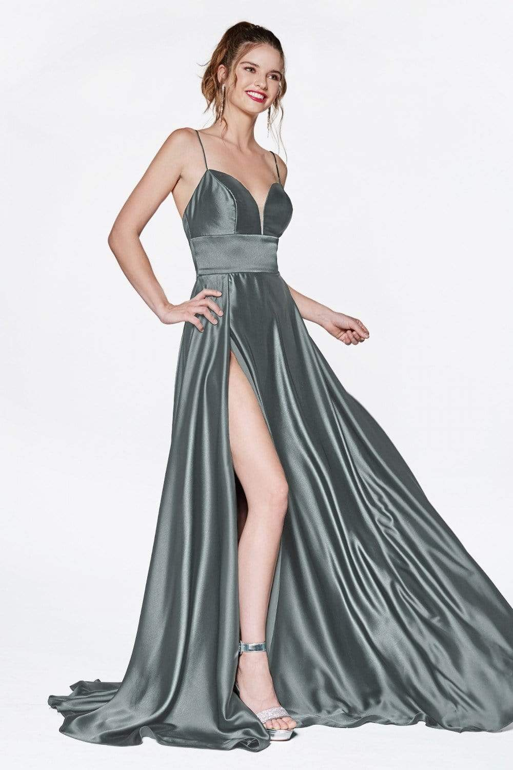 Cinderella Divine - CJ523SC Thin Strapped Satin Dress with Slit