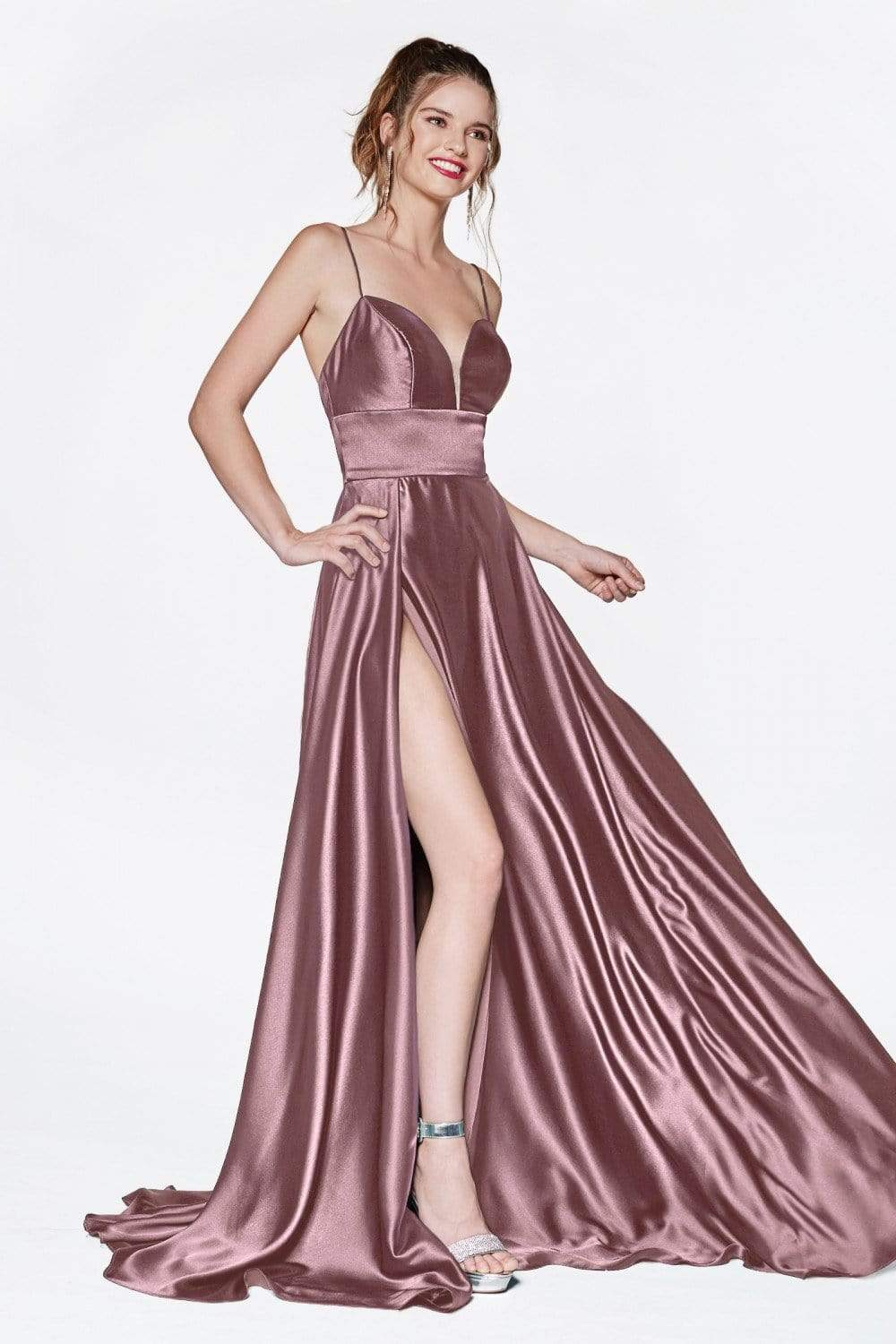 Cinderella Divine - CJ523 Sweetheart Neckline High Slit Satin Gown Prom Dresses 4 / Mauve