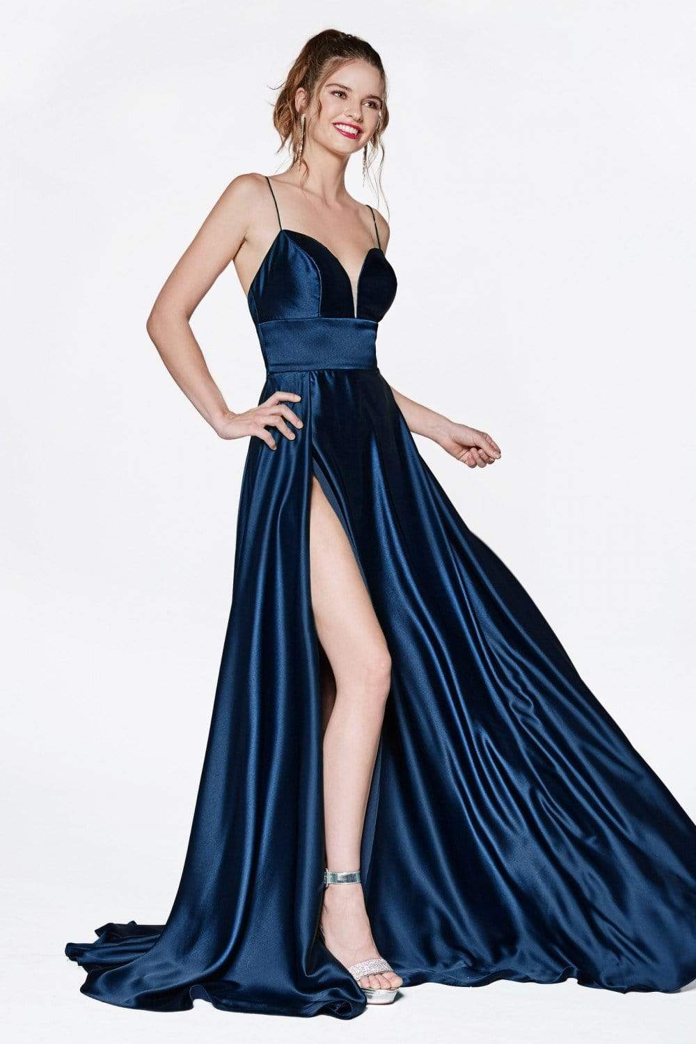 Cinderella Divine - CJ523 Sweetheart Neckline High Slit Satin Gown Prom Dresses 4 / Navy