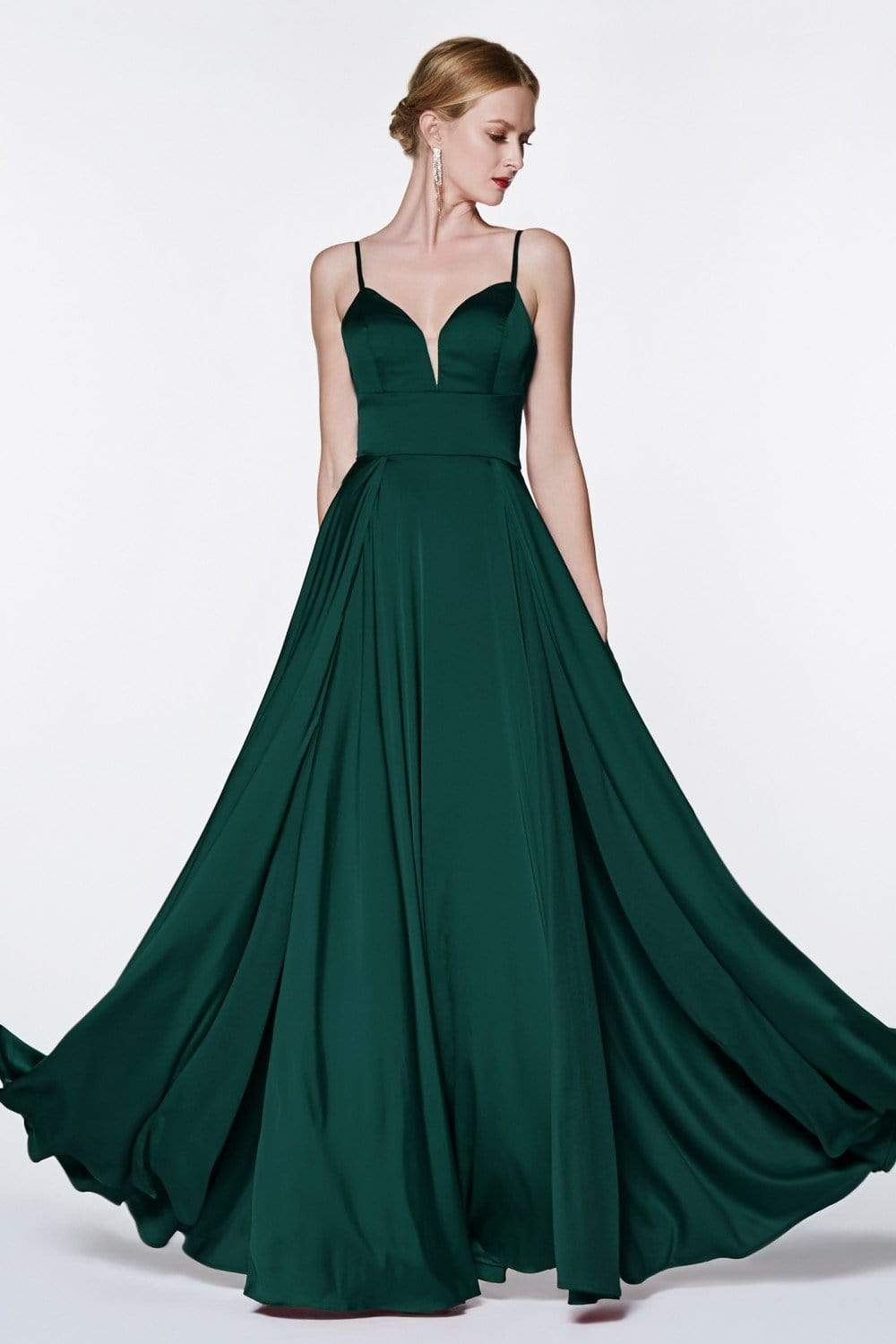 Cinderella Divine - CJ526 Sheer Plunging Neck Double Slit Satin Gown Special Occasion Dress 2 / Emerald