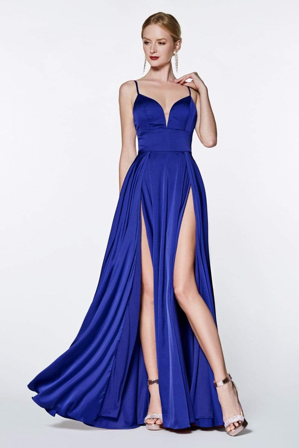 Cinderella Divine - CJ526 Sheer Plunging Neck Double Slit Satin Gown Special Occasion Dress 2 / Royal