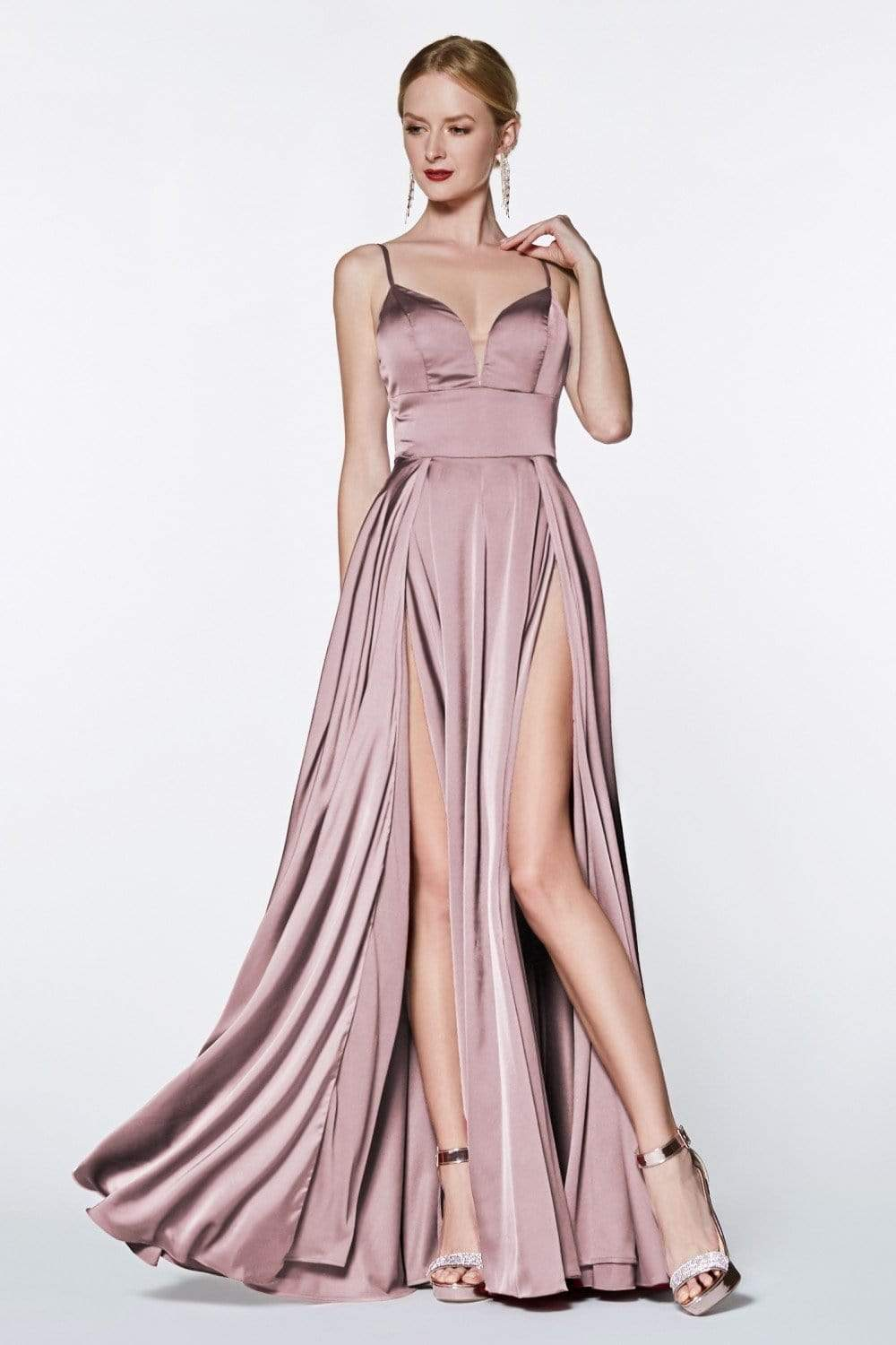Cinderella Divine - CJ526 Sheer Plunging Neck Double Slit Satin Gown Special Occasion Dress 2 / Dusty Rose