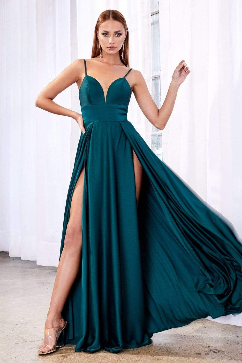 Cinderella Divine - CJ526 Sheer Plunging Neck Double Slit Satin Gown Special Occasion Dress